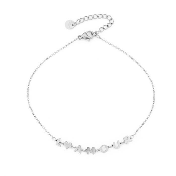 Enkelbandje L'Amour zilveren zilver Enkelbandjes dames rvs sieraden Enkelbanden kopen bestellen