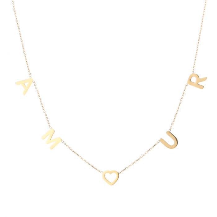 Ketting Amour goud gouden ketting dames rvs sieraden kettingen tekst amour kettinkjes kopen bestellen