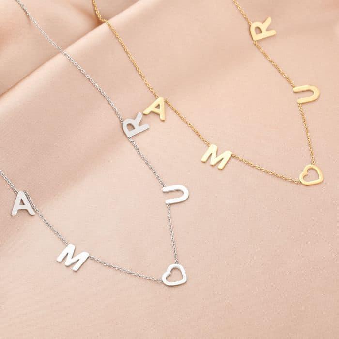 Ketting Amour goud gouden zilver zilveren ketting dames rvs sieraden kettingen kettinkjes tekst amour kopen bestellen
