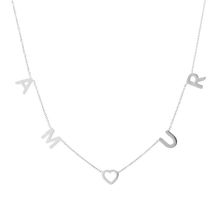 Ketting Amour zilver zilveren ketting tekst amour dames rvs sieraden kettingen kettinkjes kopen bestellen