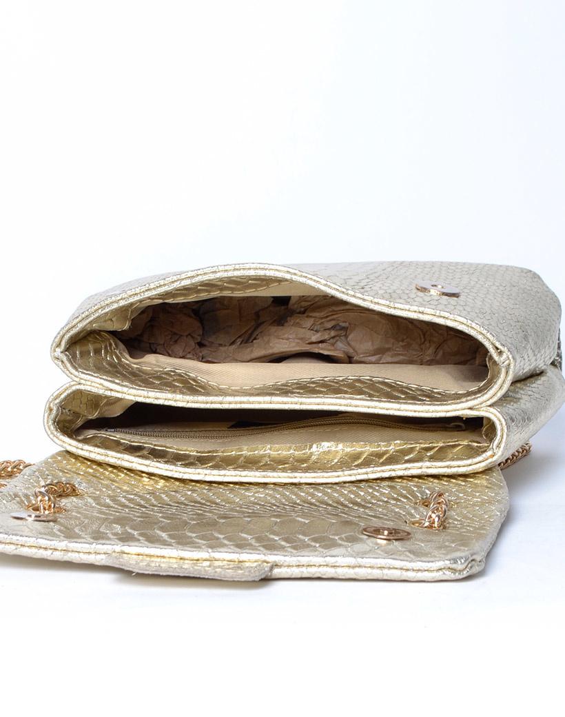 Leren Schoudertas Snake Metallic goud gouden lederen leer tassen itbags look a like tassen giulian gouden ketting hengsel bestellen kopen open