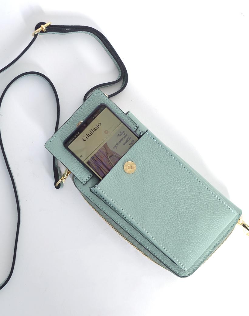 Leren-Telefoontasje-mint portemonnee-schoudertasje-handige-giuliano-tas-kopen-bestellen-lederen-schoudertasjes-lang-2-vakken-leer