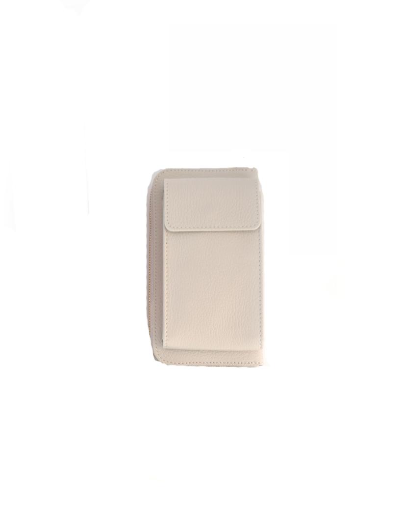 Leren-Telefoontasje-nude off white portemonnee-schoudertasje-handige-giuliano-tas-kopen-bestellen-lederen-schoudertasjes-lang-2-vakken-leer