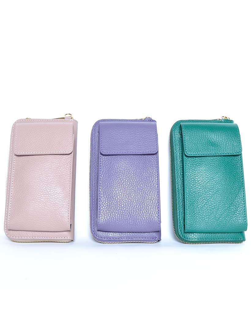 Leren-Telefoontasje-paars nude groen portemonnee-schoudertasje-handige-giuliano-tas-kopen-bestellen-lederen-schoudertasjes-lang-2-vakken-leer