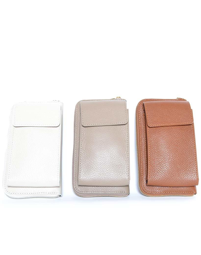 Leren-Telefoontasje-taupe beige portemonnee-schoudertasje-handige-giuliano-tas-kopen-bestellen-lederen-schoudertasjes-lang-2-vakken-leer