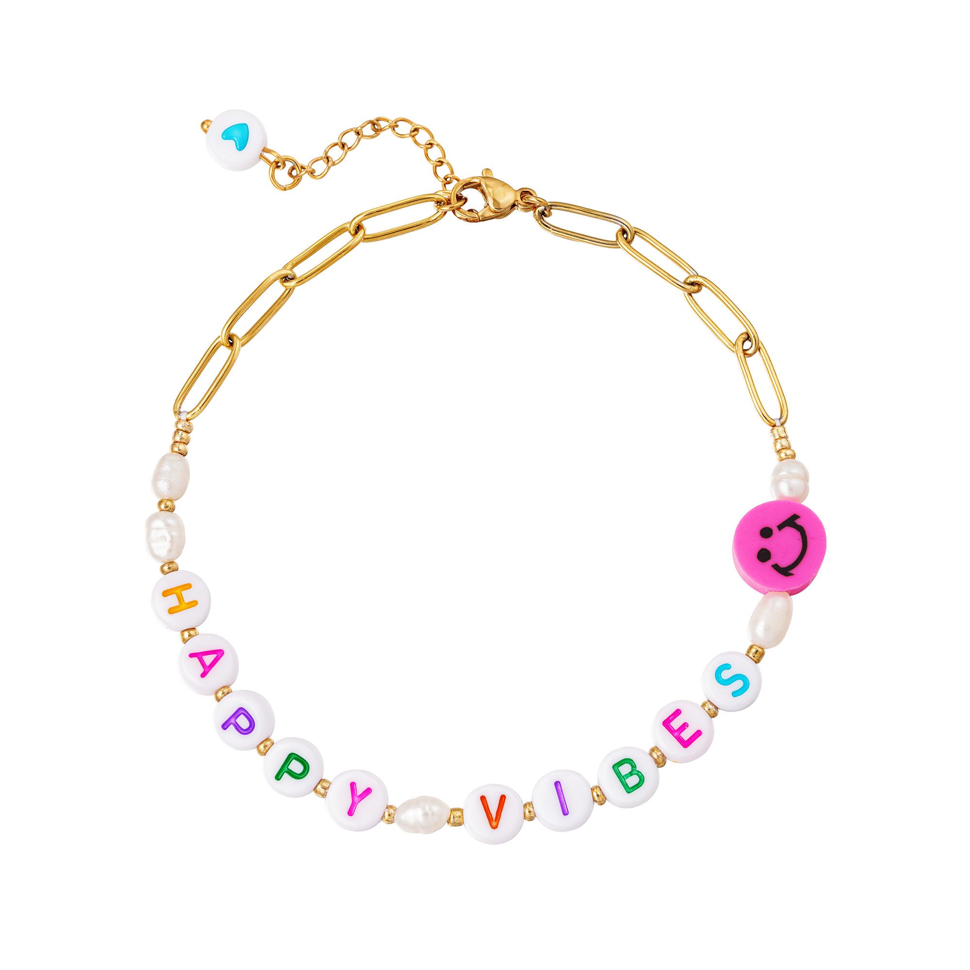 RVS Enkelbandje Happy Vibes gouden dames schakel enkelbandjes enkelband plastic letter blokjes bedel sieraden necklages kopen bestellen festival yehwang