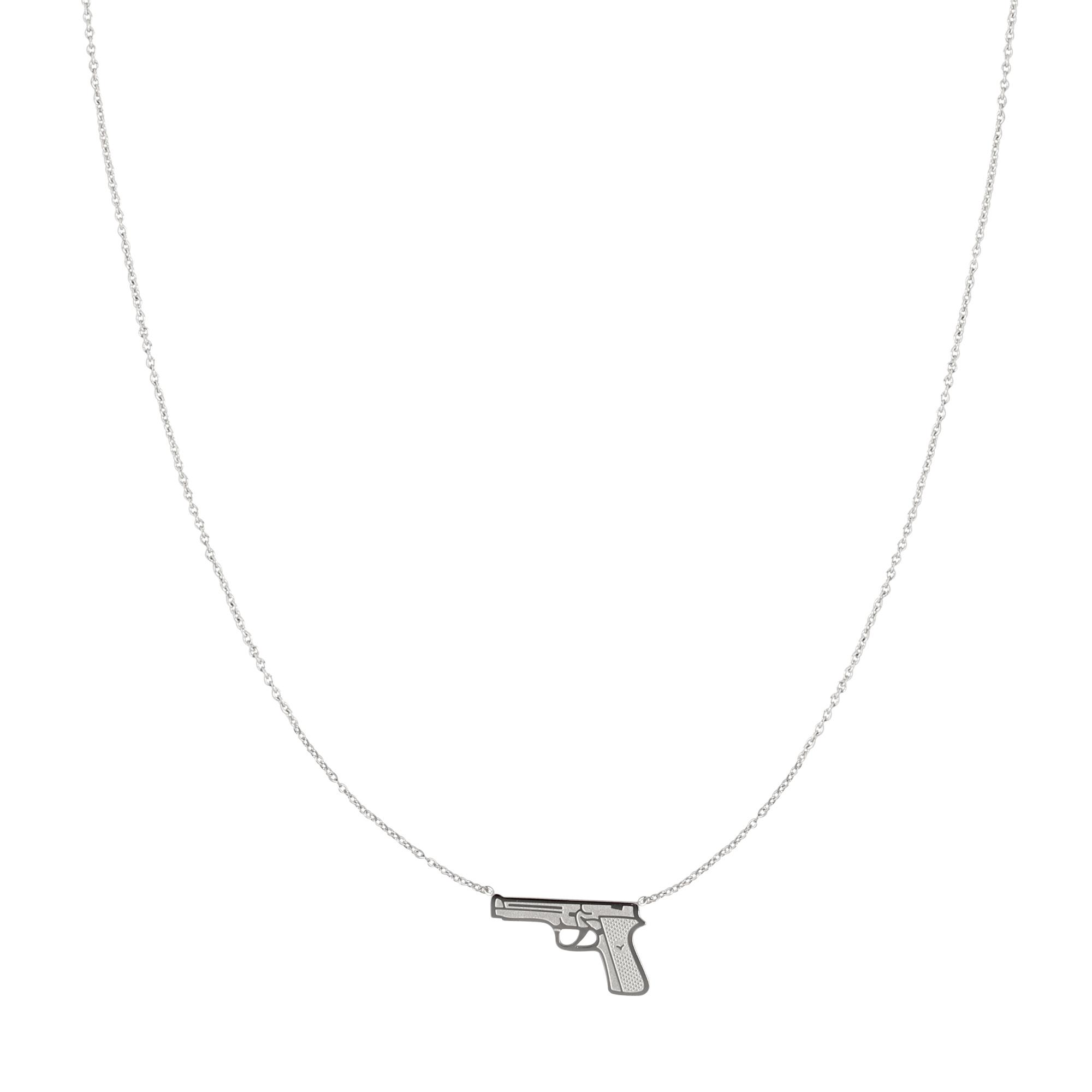 RVS Ketting Gun zilver zilveren dames kettingen pistool bedel sieraden necklages kopen bestellen yehwang
