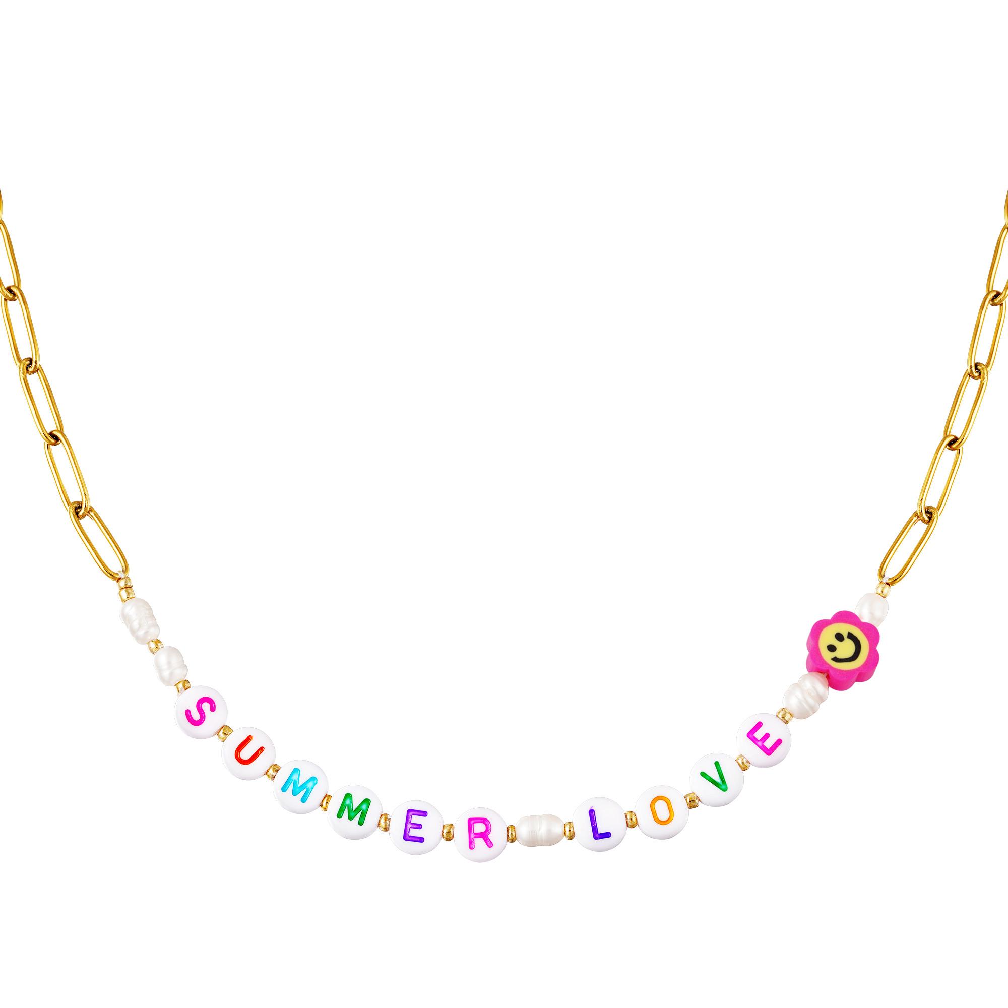 RVS SchakkelKetting Summer Love gouden dames kettingen plastic letter blokjes bedel sieraden necklages kopen bestellen festival yehwang