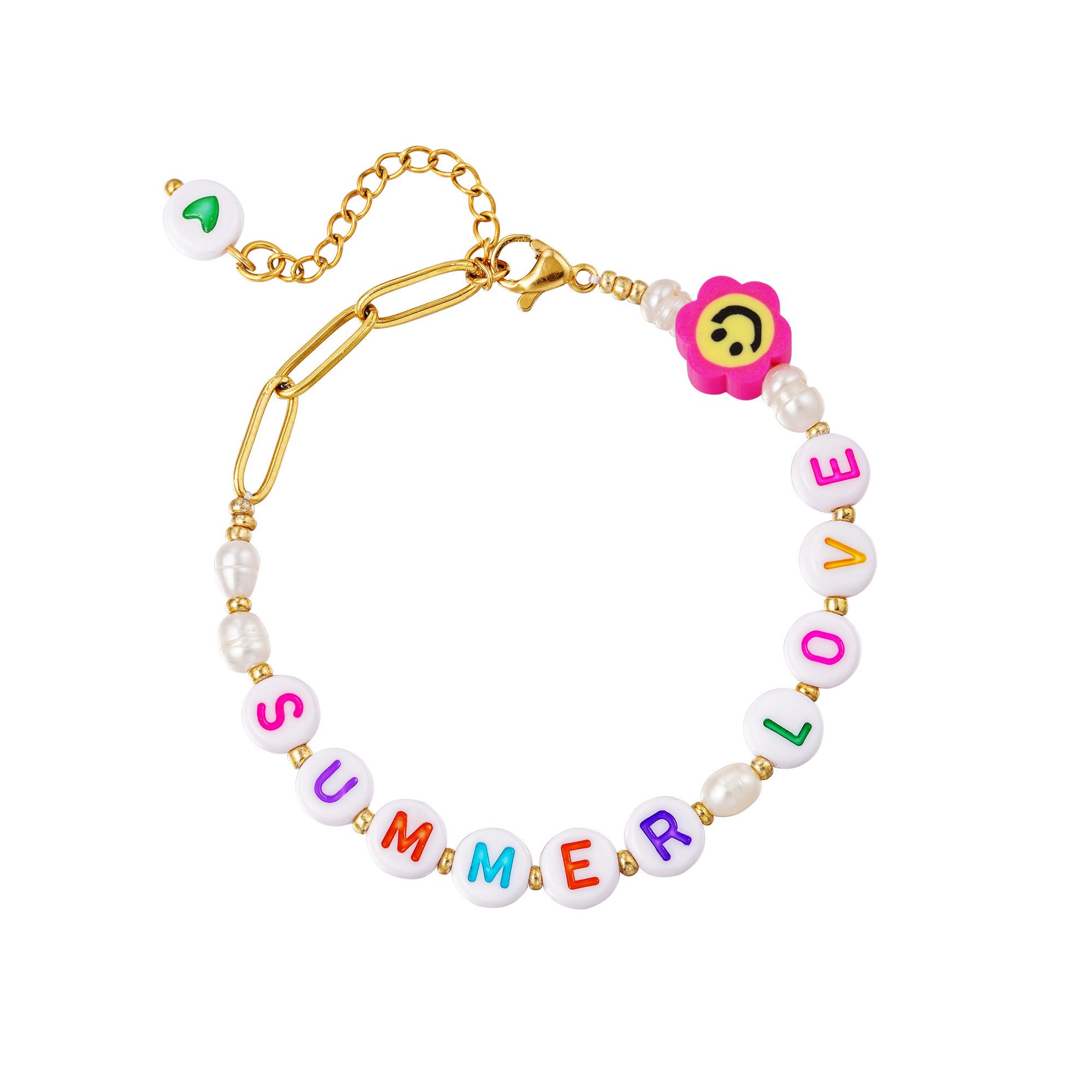RVS Schakelarmband Summer Love gouden dames armbanden plastic letter blokjes bedel sieraden bracelets kopen bestellen festival yehwang