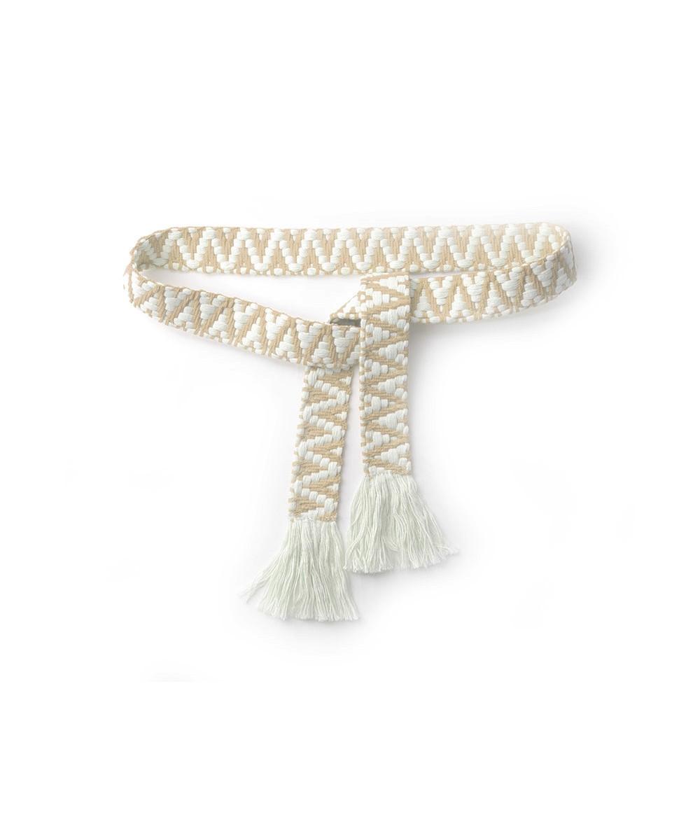 Riem Boho Love beige beige handgemaakte katoenen riemen zigzag print trendy knoopriemen kopen giuliano bestellen