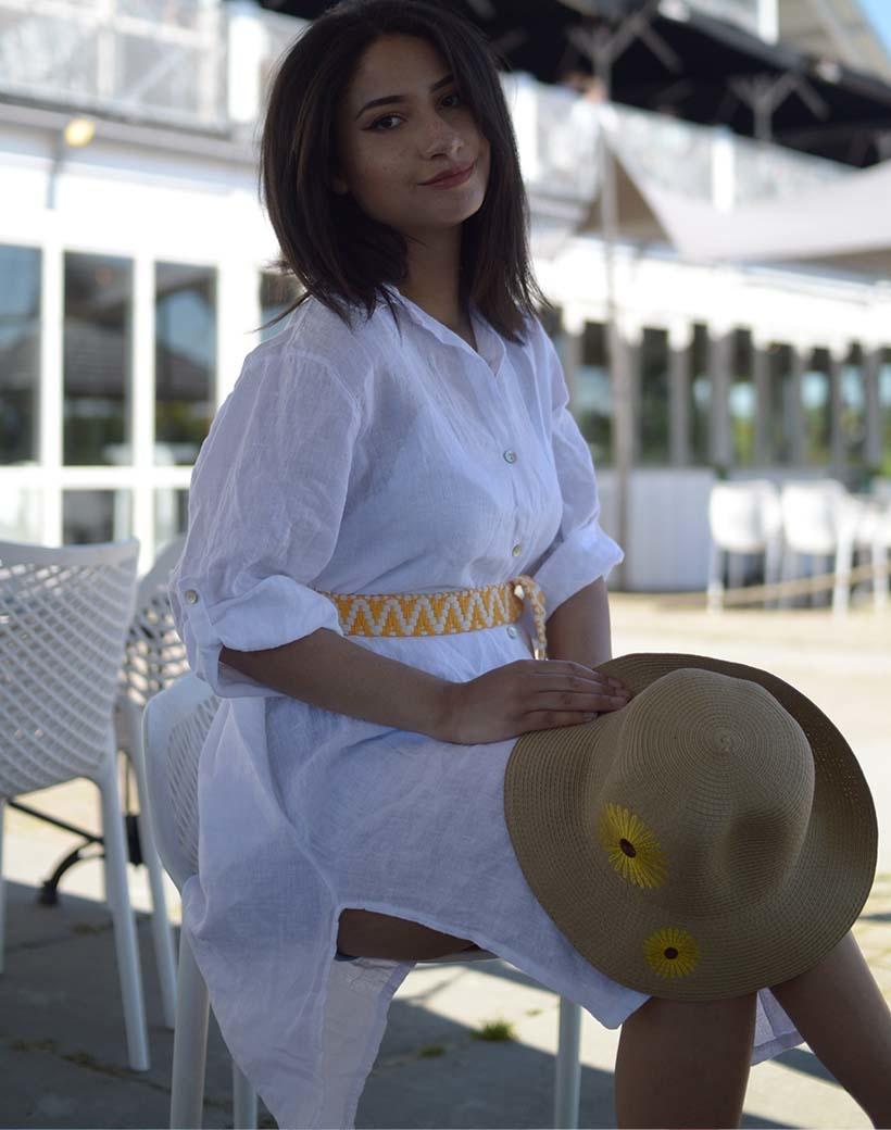 Riem Boho Love geel gele handgemaakte katoenen riemen zigzag print trendy knoopriemen kopen giuliano bestellen