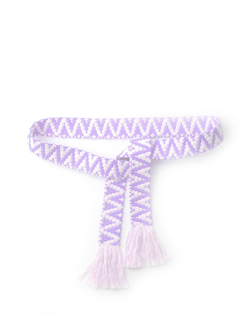 Riem Boho Love lila paars handgemaakte katoenen riemen zigzag print trendy knoopriemen kopen giuliano bestellen