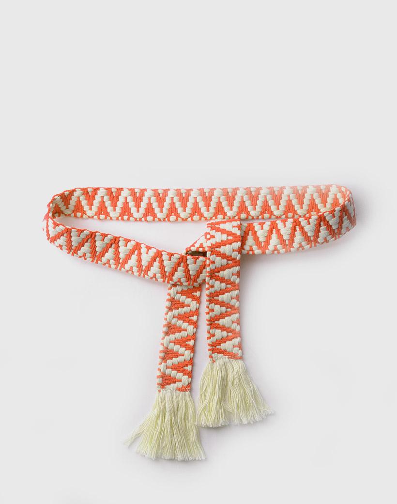 Riem Boho Love oranje orange beige handgemaakte katoenen riemen zigzag print trendy knoopriemen kopen giuliano bestellen