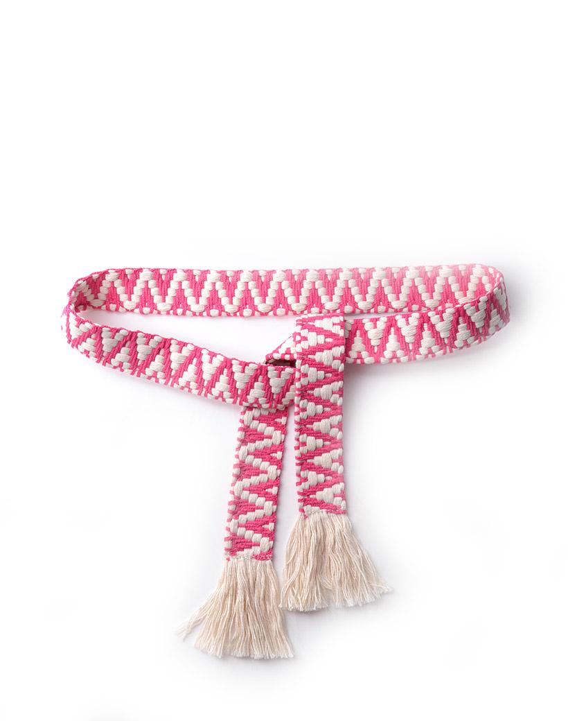 Riem Boho Love roze pink beige handgemaakte katoenen riemen zigzag print trendy knoopriemen kopen giuliano bestellen