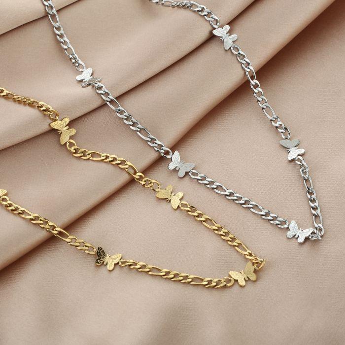 Schakelketting Butterfly zilver zilveren goud gouden ketting vlinder bedels dames rvs sieraden kettingen kettinkjes kopen bestellen