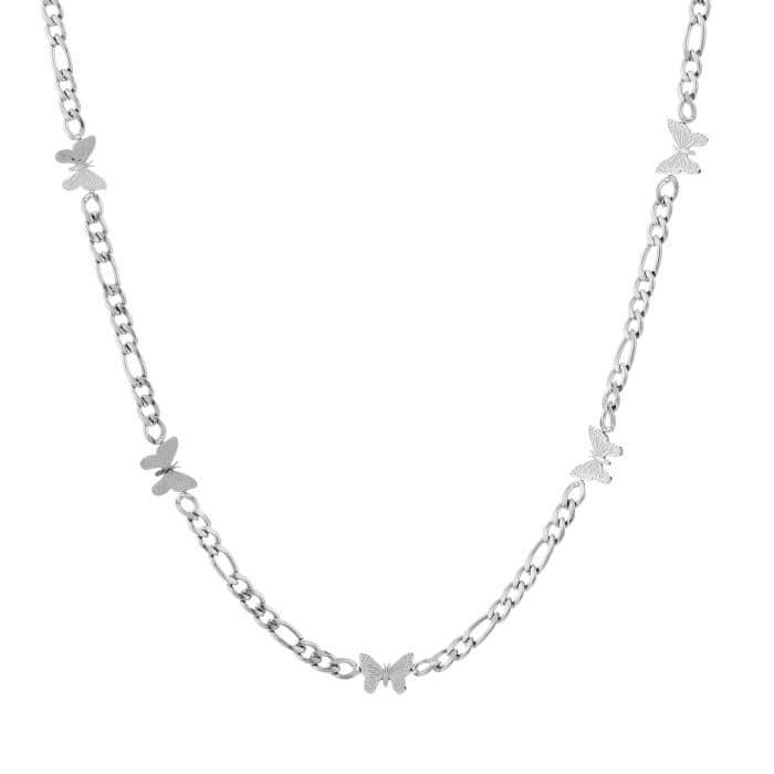 Schakelketting Butterfly zilver zilveren ketting vlinder bedels dames rvs sieraden kettingen kettinkjes kopen bestellen