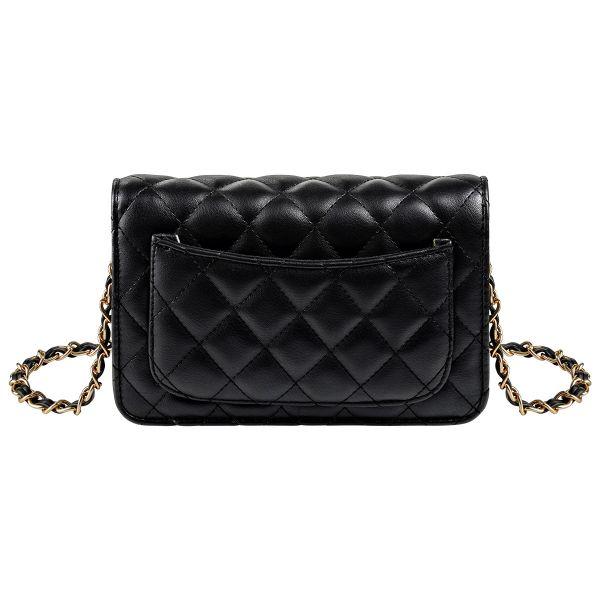 Schoudertas Trendy Coco zwart zwarte dames tassen quilted stiksels look a like tassen online kopen met gouden doorregen ketting hengsel festival achter