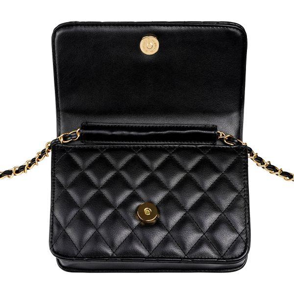 Schoudertas Trendy Coco zwart zwarte dames tassen quilted stiksels look a like tassen online kopen met gouden doorregen ketting hengsel festival open