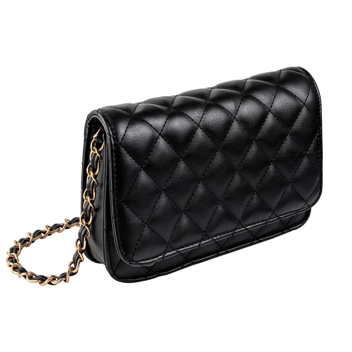 Schoudertas Trendy Coco zwart zwarte dames tassen quilted stiksels look a like tassen online kopen met gouden doorregen ketting hengsel festival