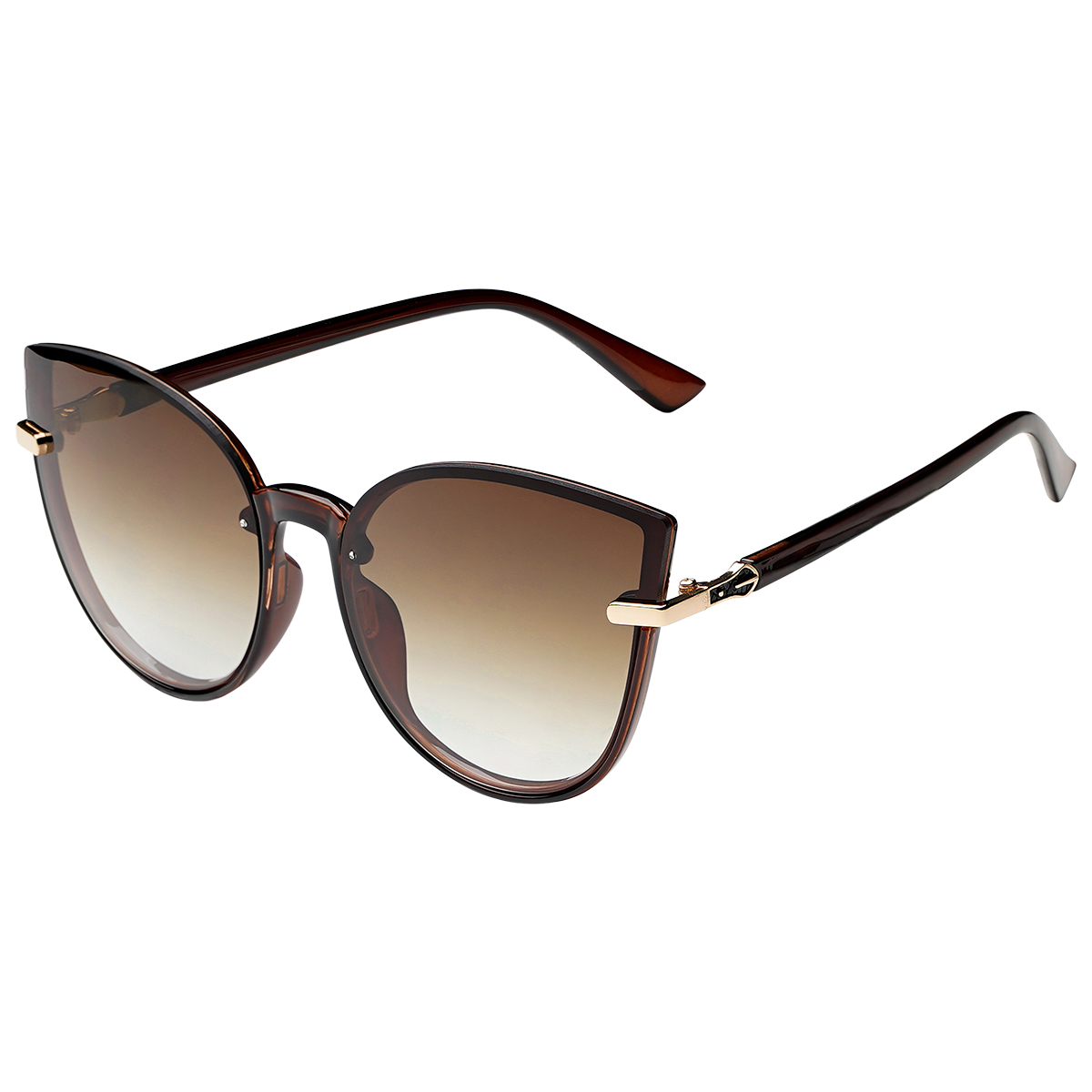Zonnebril Cat Eye camel bruin bruine dames zonnebrillen gouden detail trendy festival brillen musthaves kopen bestellen yehwang