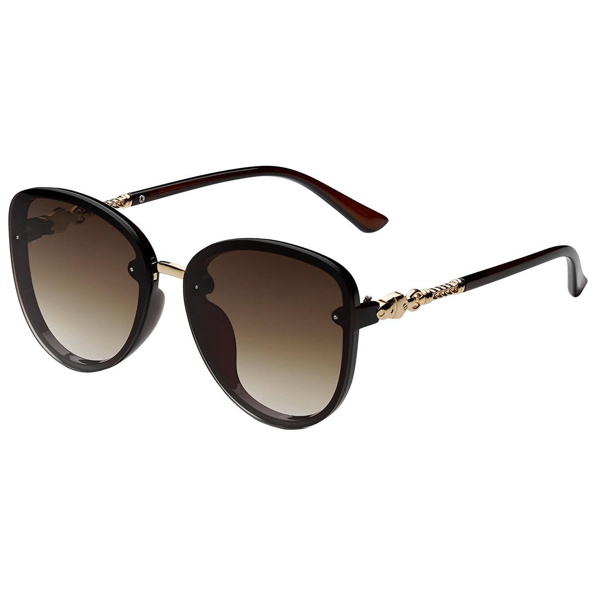 Zonnebril Elegance bruin bruine dames zonnebrillen gouden details zijkanten trendy festival brillen musthaves kopen bestellen yehwang
