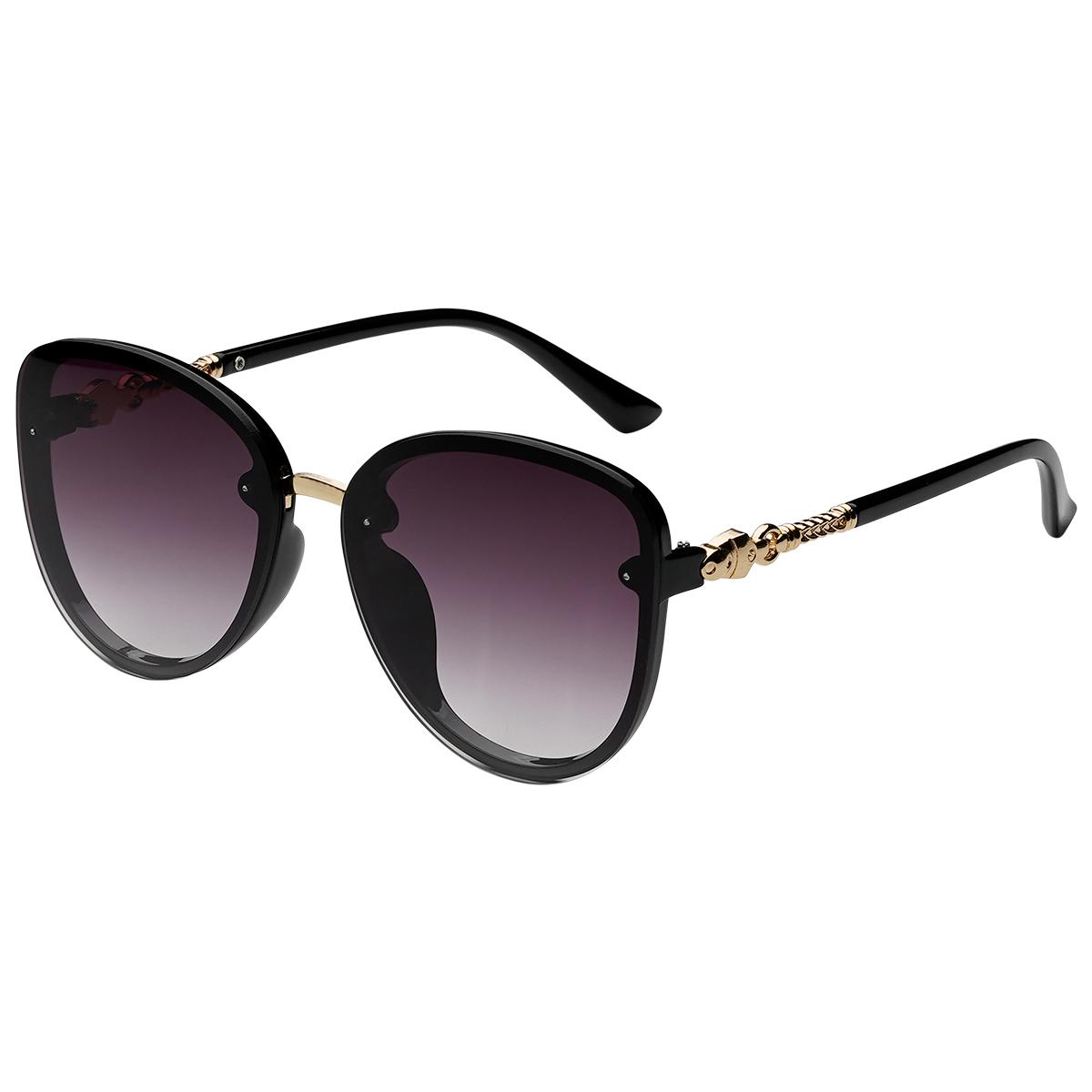 Zonnebril Elegance donker paars paarse dames zonnebrillen gouden details zijkanten trendy festival brillen musthaves kopen bestellen yehwang