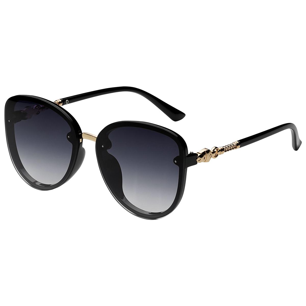 Zonnebril Elegance zwart zwarte dames zonnebrillen gouden details zijkanten trendy festival brillen musthaves kopen bestellen yehwang