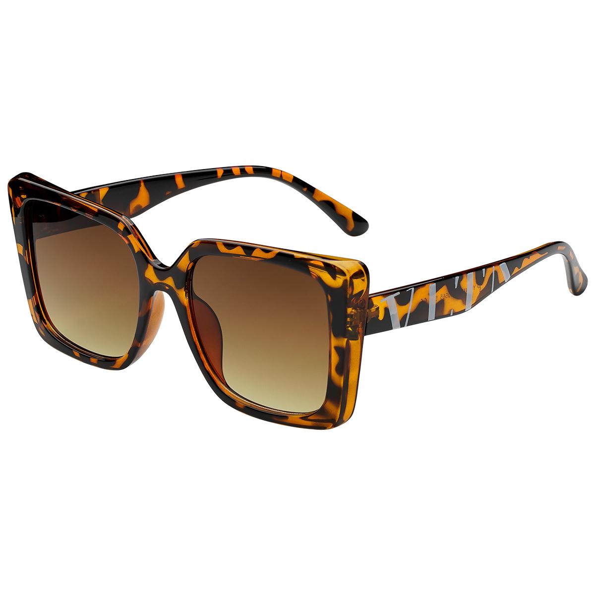 Zonnebril VLTA bruin bruine vierkante dames zonnebrillen vlta tekst zijkanten trendy festival brillen musthaves kopen bestellen yehwang