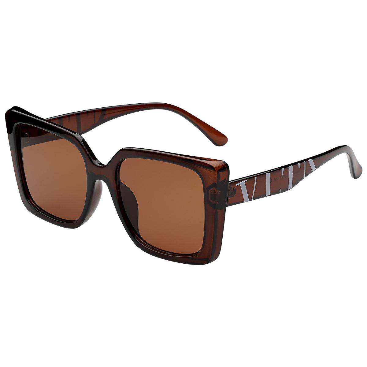 Zonnebril VLTA camel bruin bruine vierkante dames zonnebrillen vlta tekst zijkanten trendy festival brillen musthaves kopen bestellen yehwang