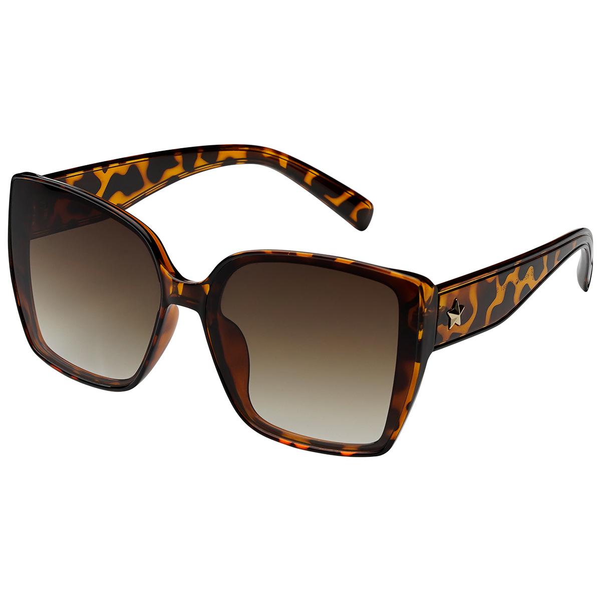 Zonnebril ster bruin bruine vierkante dames zonnebrillen ster stud zijkanten trendy festival brillen musthaves kopen bestellen yehwang