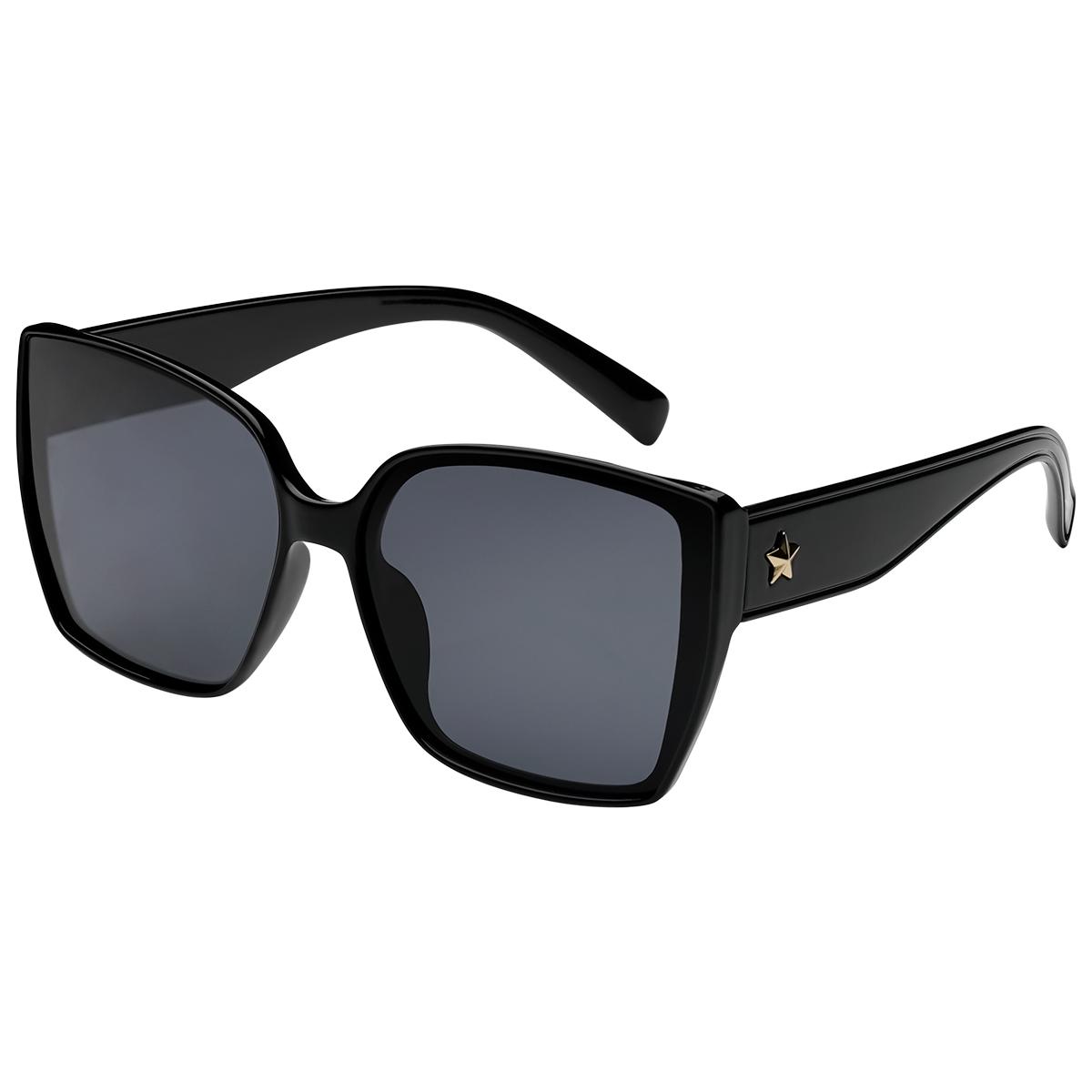 Zonnebril ster zwart zwarte vierkante dames zonnebrillen ster stud zijkanten trendy festival brillen musthaves kopen bestellen yehwang