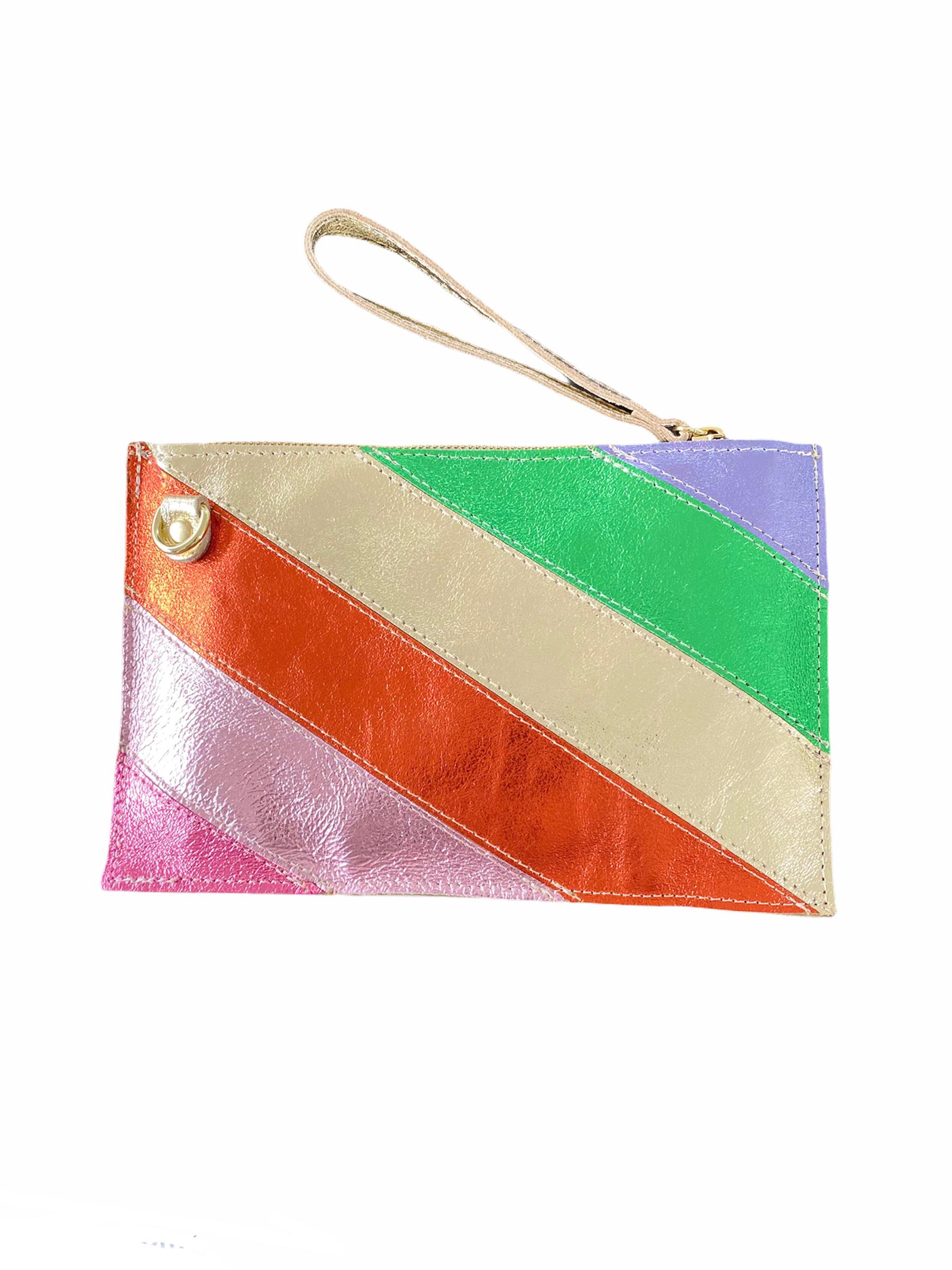 Leren-Clutch-Metallic-Rainbow-goud-roze oranje--groen-look-a-like-it-bags-regenboogkleuren-giuliano-bestellen-kopen