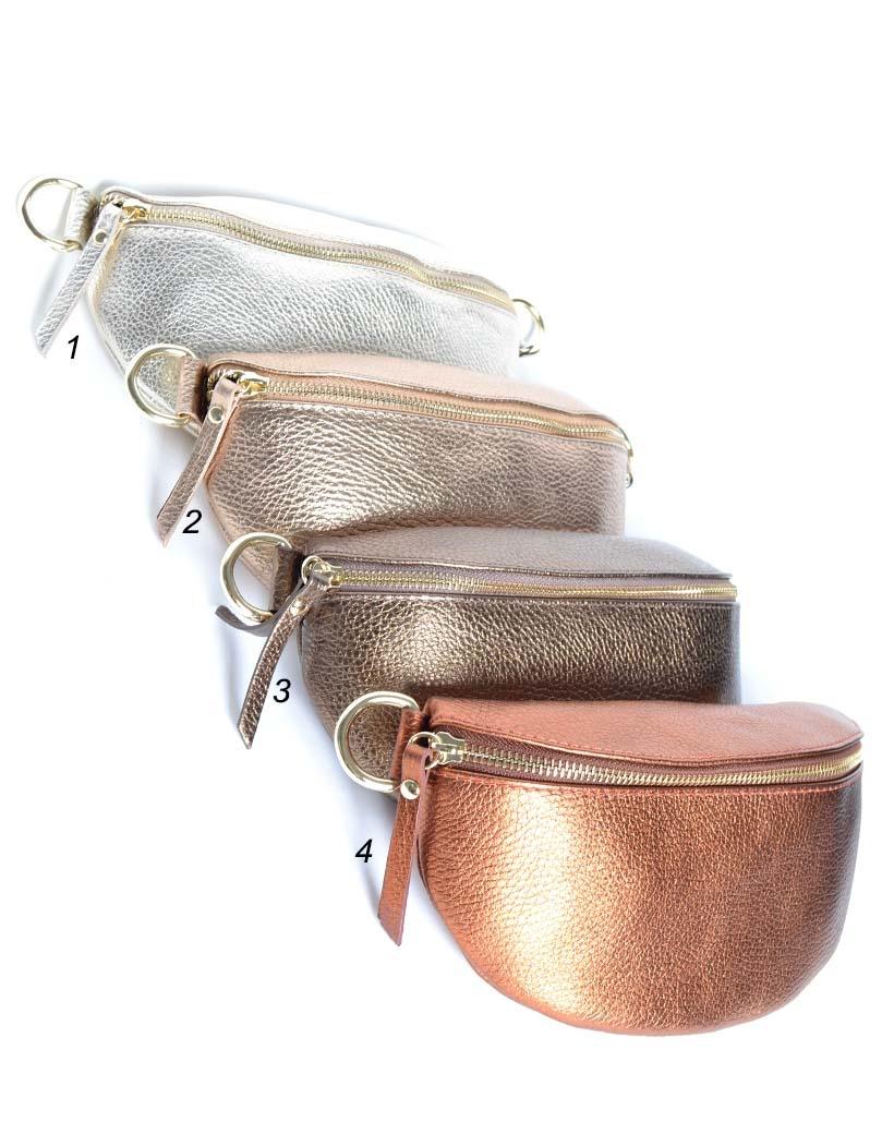 Leren Schoudertas Faya Metallic love brons koper goud zilver crossbody schoudertas giuliano tassen online kopen bestellen