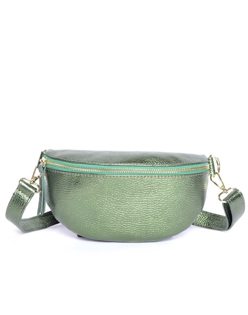 Leren Schoudertas Faya Metallic love groen groene crossbody schoudertas giuliano tassen online kopen bestellen