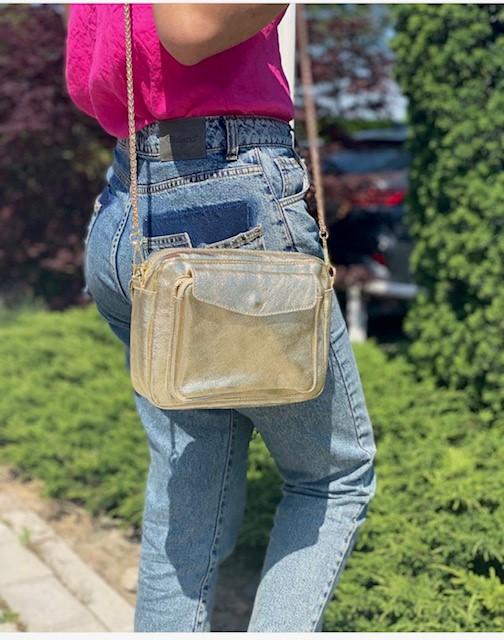Leren Schoudertas Pretty Metallic goud gouden dames tassen leer leder giuliano trendy gouden kettinghengsel musthave bags bestellen kopen