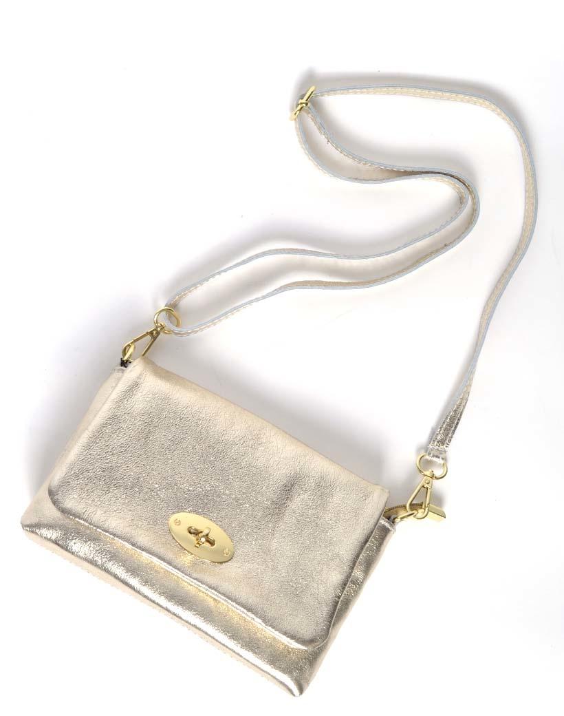 Leren Schoudertas sara Metallic goud gouden tassen draaislot trendy lederen leer tassen giuliano luxe trendy tassen kopen bestellen