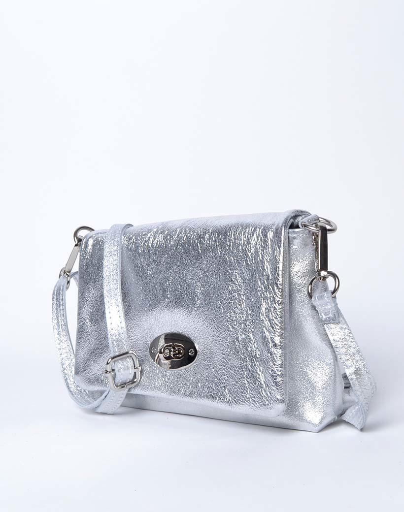 Leren Schoudertas sara Metallic zilver zilveren tassen draaislot trendy lederen leer tassen giuliano luxe trendy tassen kopen bestellen side