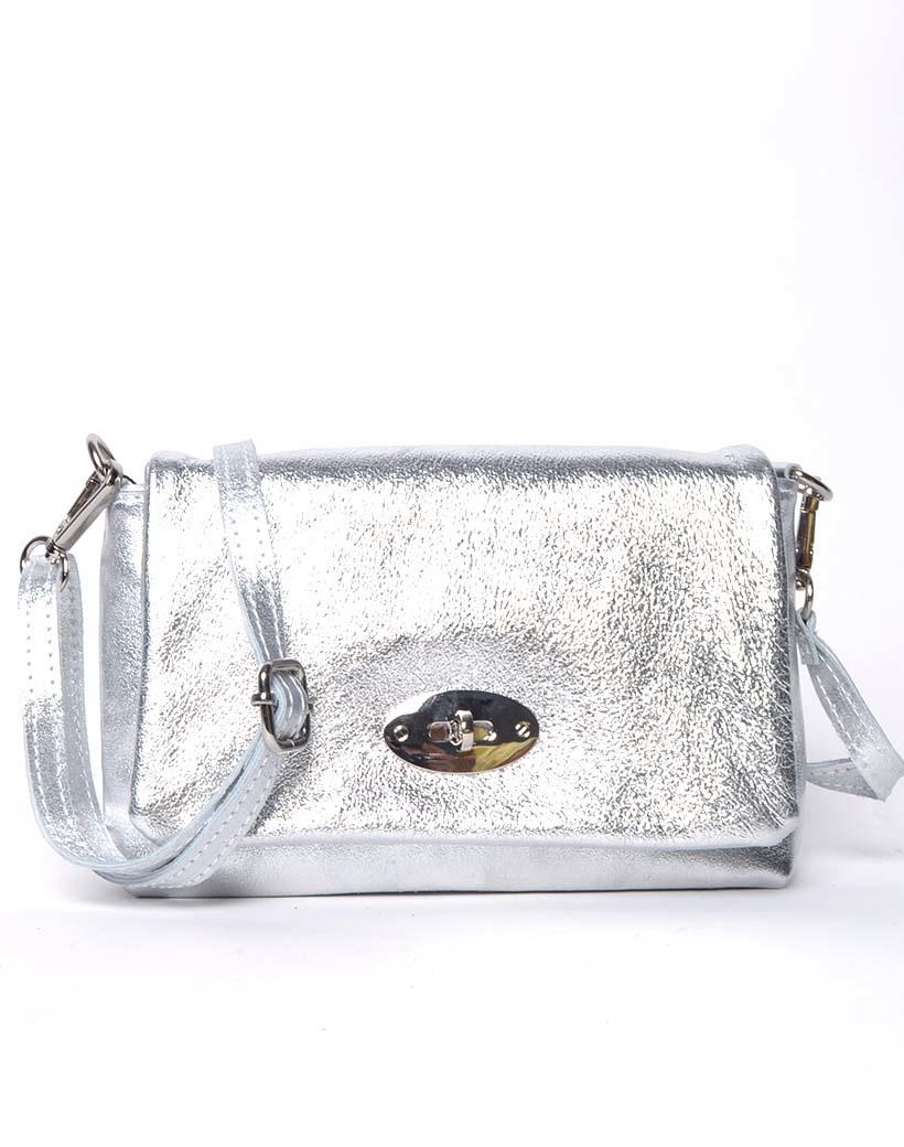 Leren Schoudertas sara Metallic zilver zilveren tassen draaislot trendy lederen leer tassen giuliano luxe trendy tassen kopen bestellen