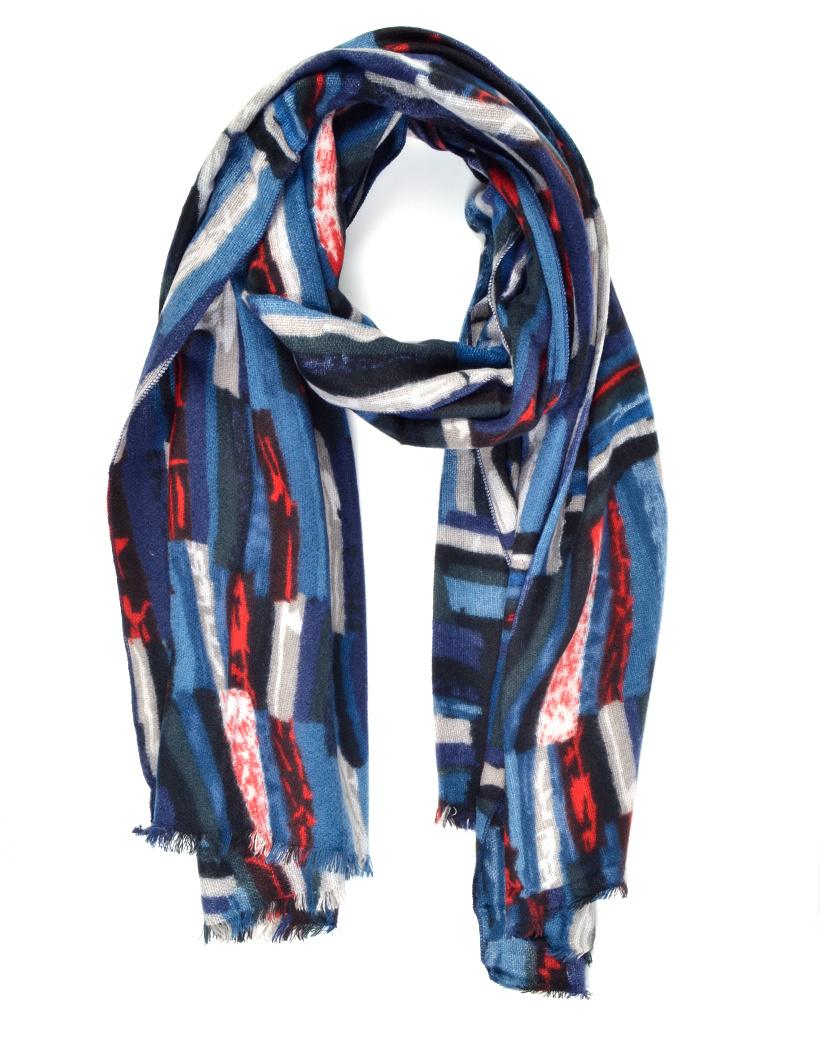 Sjaal Abstract blauw blauwe lange warme dames sjaals trendy sjaals kopen bestellen