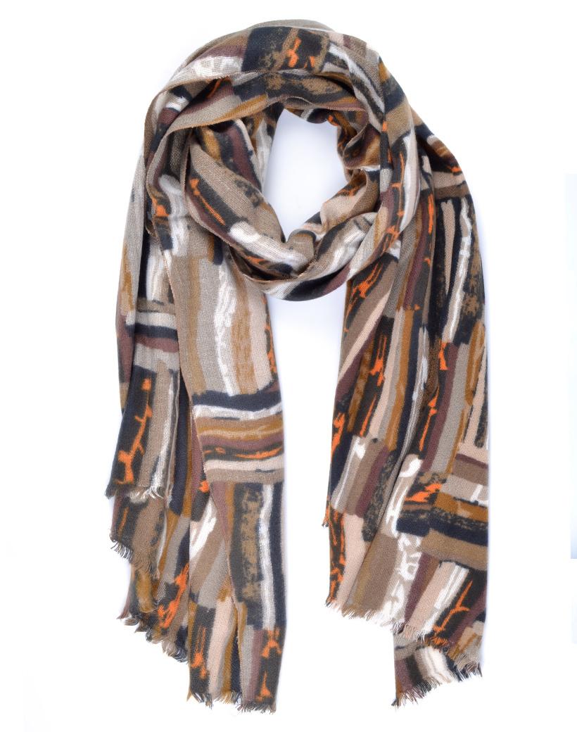 Sjaal Abstract taupe viscose lange warme dames sjaals trendy sjaals kopen bestellen