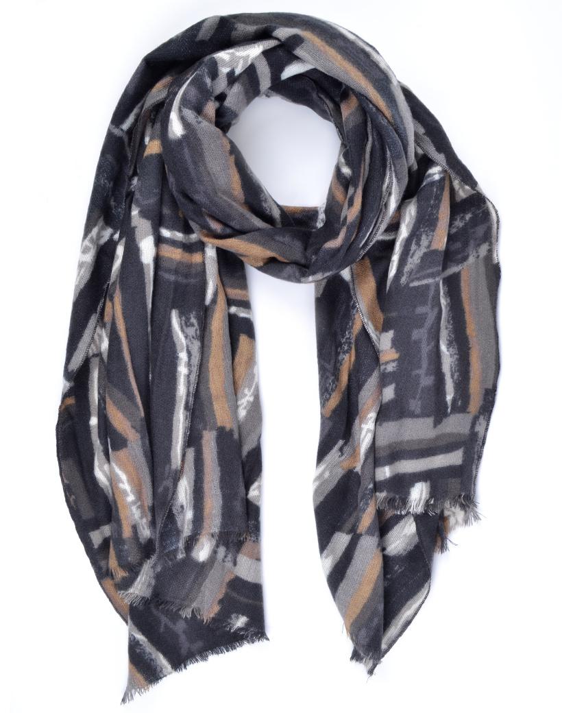 Sjaal Abstract zwart zwarte viscose lange warme dames sjaals trendy sjaals kopen bestellen