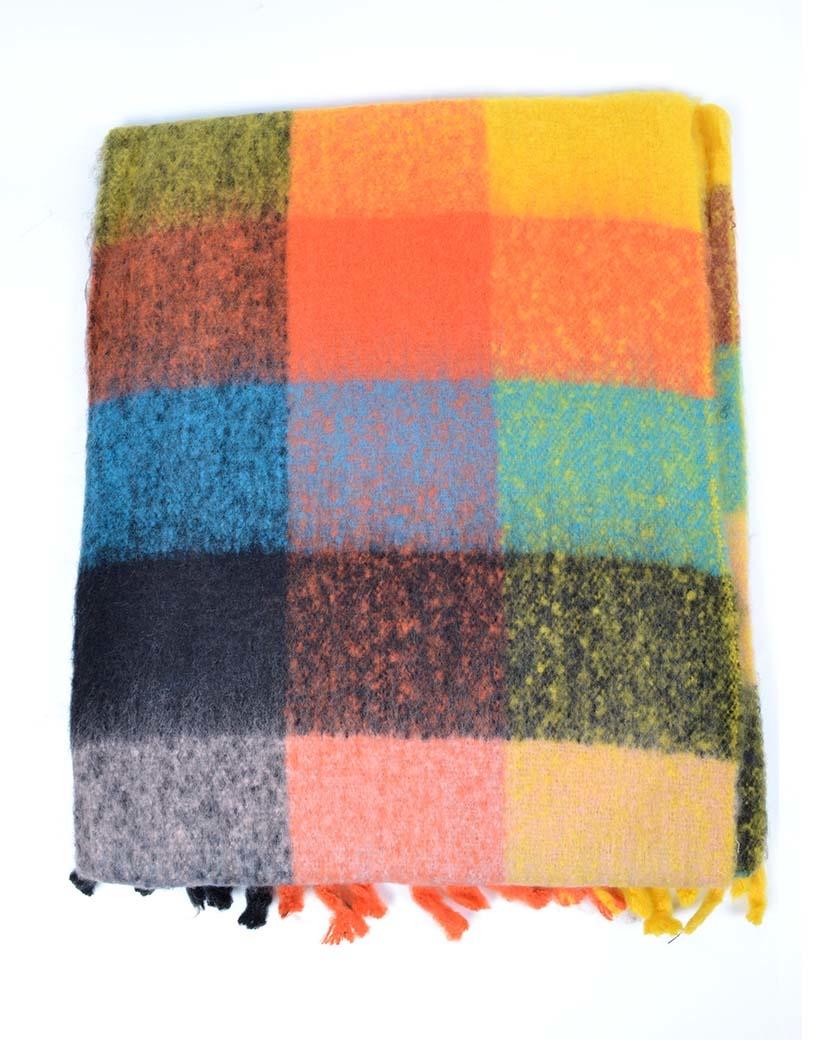 Sjaal Happy Blocks oranje blauw blauwe warme sjaals omslagdoeken trendy musthave sjaals kopen bestellen