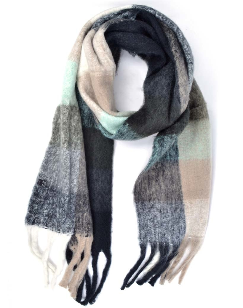 Sjaal Happy Blocks zwart zwarte mint warme sjaals omslagdoeken trendy musthave sjaals kopen bestellen