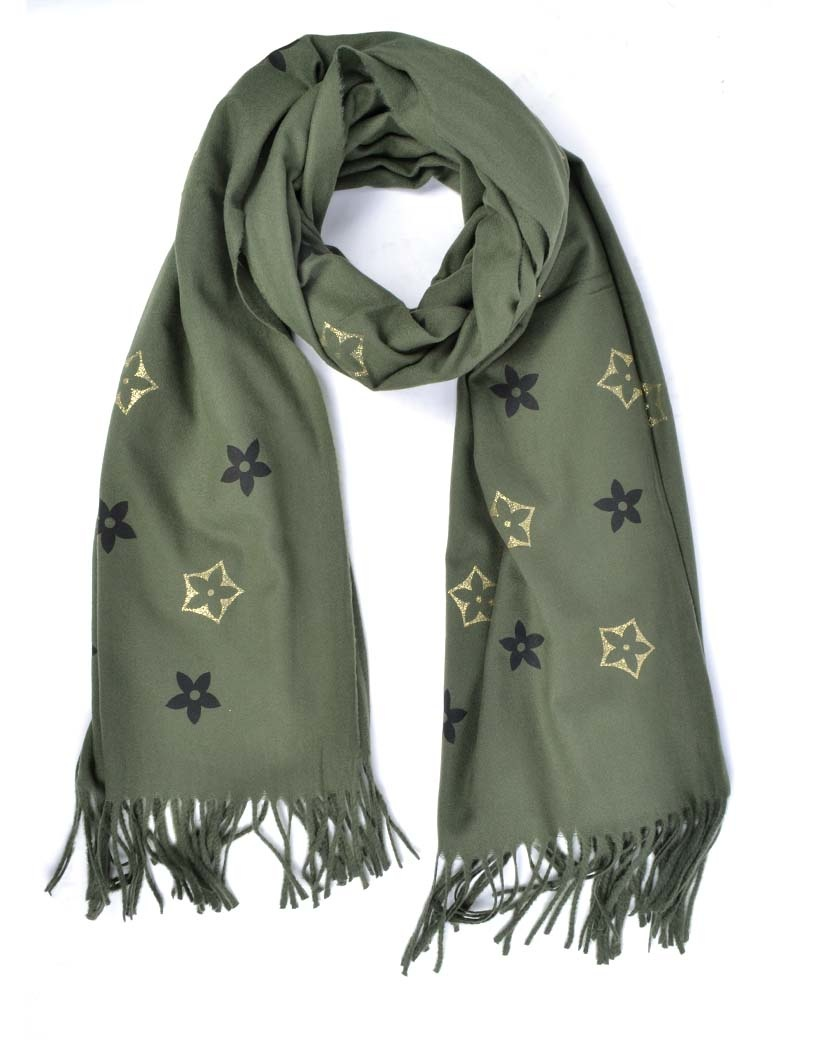 Sjaal Trendy Flowers groen groen dames sjaals met bloemen print trendy fashion sjaals omslagdoeken kopen bestellen