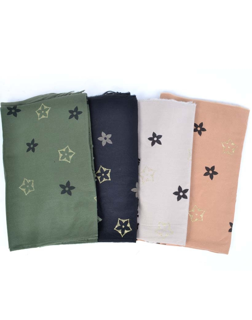 Sjaal Trendy Flowers groen zwart beige camel dames sjaals met bloemen print trendy fashion sjaals omslagdoeken kopen bestellen