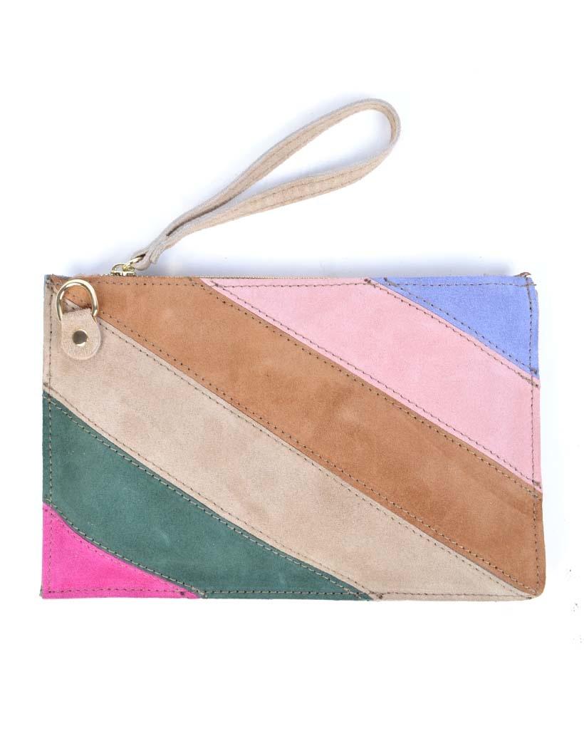 Suede-Clutch-Rainbow-bruin-fuchsia-beige-groen-look-a-like-it-bags-regenboogkleuren-giuliano-bestellen-kopen