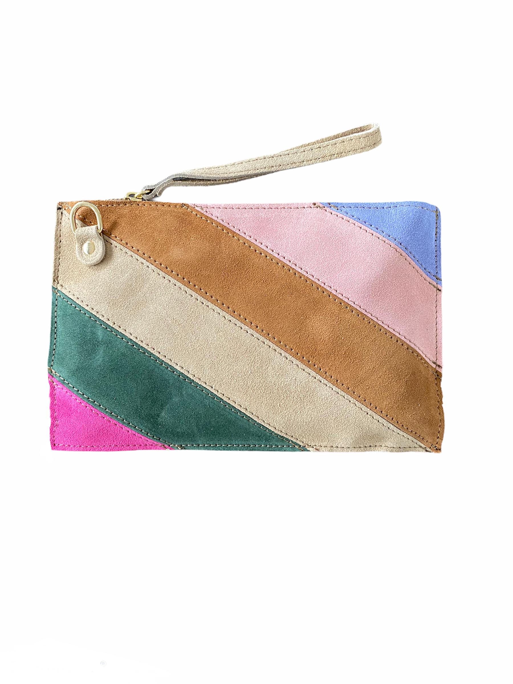 Suède -Clutch--Rainbow-bruin fuchsia beige groen-look-a-like-it-bags-regenboogkleuren-giuliano-bestellen-kopen