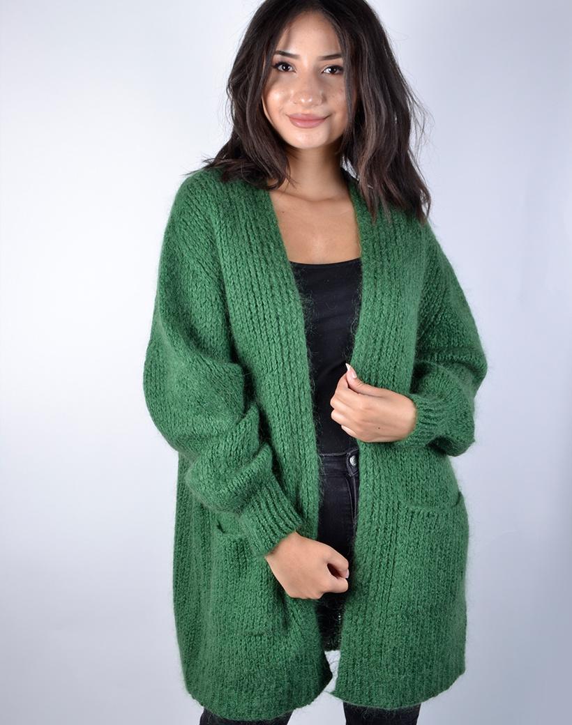 Vest Happy groen groen open half lange loszittende dikke trendy dames vesten kopen bestellen