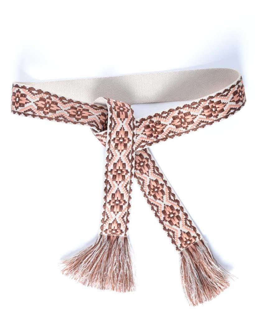 Wikkelriem Carpet bruin bruine print omslagriemen-boho-riemen-dames-wikkelriemen-ceinturen-handgemaakte-katoenen-riemen-gekleurde-print-