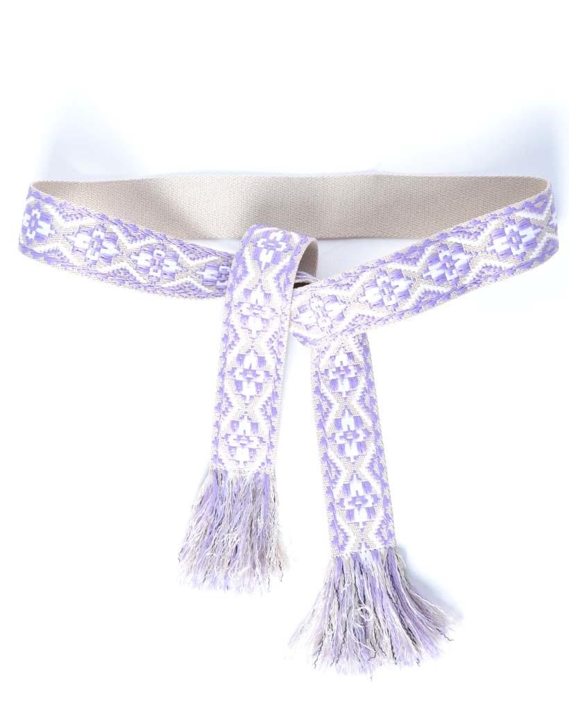 Wikkelriem Carpet lila print omslagriemen-boho-riemen-dames-wikkelriemen-ceinturen-handgemaakte-katoenen-riemen-gekleurde-print-trendy